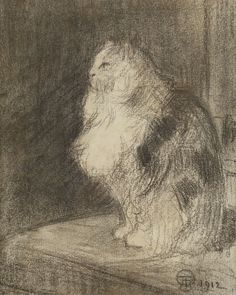 Théophile Alexandre Steinlen (Swiss-French, 1859 - 1923): The Cat (Chat), 1912. Charcoal drawing, 20.5 x 17 cm.