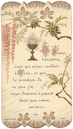 1907-Antique-Vtg-French-Holy-Prayer-Card-Communion-Chalice-034-Forever-in-My-Heart-034