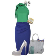 """Green-Blue with Grey Accents"" by judieasley on Polyvore"