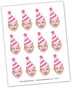 Photo Cupcake Toppers (Birthday Hat Design) Digital File - Color Coordinated with your Party Scheme - franziska First Birthday Cupcakes, Happy Birthday Meme, Girl First Birthday, Baby Birthday, First Birthday Parties, Birthday Ideas, Birthday Outfits, 50th Birthday, Birthday Gifts