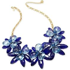 kate spade new york Gold-Tone Blooming Brilliant Flower Statement... (960 BRL) ❤ liked on Polyvore featuring jewelry, necklaces, accessories, joias, blue multi, bib statement necklace, blue flower necklace, blue jewelry, lobster clasp charms and gold tone charms