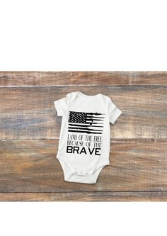 Land of the Free Because of the Brave 4th of July shirt, bodysuit, American pride, gun rights, guns, babies, little ones, romper, tshirt by DizzyBellDesigns on Etsy