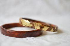 wood and gold leaf bracelet