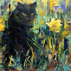 Title: Black Cat Loves Spring Artist: Valerie Lazareva Made in 2018 Oil on cradled panel 6 x 6 in I chose this piece because I really liked the use of the texture and how you can see it clearly. Art For Sale Online, Daily Painters, Original Art For Sale, Fine Art Gallery, Cat Love, Cat Art, Lovers Art, Contemporary Art, Cats
