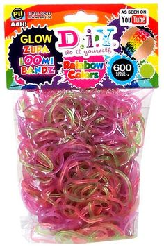 D.I.Y. Do it Yourself Zupa Loomi Bandz 600 Translucent Glow-In-The -Dark Rainbow Rubber Bands with 'S' Clips   Toys-n-Stuff