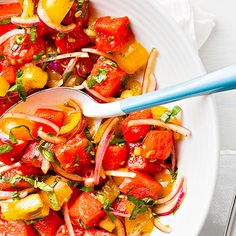 Summertime produce calling your name? This Watermelon and Tomato Salad is the answer! Get the recipe via Diabetes Forecast magazine.