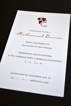 Winery Rehearsal Dinner Invitation