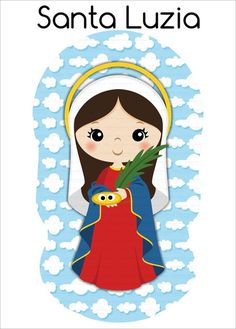Recorte em Tecido - Naninha Santa Luzia no Elo7 | Recortes Personalizados (EE544E) Santa Lucia, Catholic Prayers, Catholic Saints, Ccd Activities, Bible Stories For Kids, Dibujos Cute, Blessed Mother, Silhouette Projects, Xmas Cards