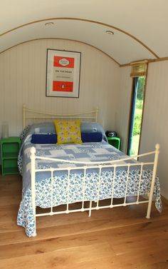 Inside the Shepherd's Hut Edyn.  Nice and snug with it's underfloor heating & insulation!
