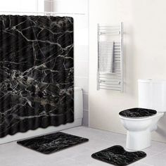 Application: BathroomMaterial: PVCFeature: Eco-FriendlyFeature: StockedPattern: PrintStyle: ModernModel Number: Machine MadeBrand Name: NoEnName_Null Bathtub Decor, Bathroom Decor Sets, Gold Shower Curtain, Bathroom Shower Curtains, Black Curtains, Colorful Curtains, Black Marble Bathroom, White Marble, Recessed Shower Shelf