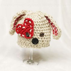 Loom Knit Puppy Dog Hat with Heart Pattern! So Cute!!