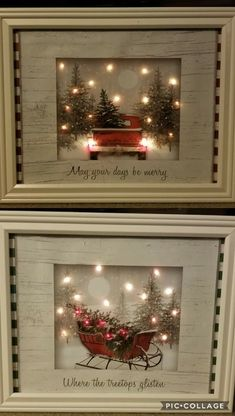 Pictures made by a craft artist with dollar store gift bags, battery LED lights, and frames Diy Christmas Frames, Rustic Christmas, Dollar Tree Christmas, Christmas Christmas, Christmas Pictures, Homemade Christmas, Diy Christmas Gifts, Christmas Projects, Christmas Decorations