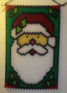 Santa Smiles Pony Bead Kit Herrschners Wall Hanging Banner
