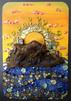 #sea village at sunrise in my wood and mixed media mosaic, seemore on Fb https://www.facebook.com/pages/Silvia-Logi-Artworks/121475337893535?ref=br_rs