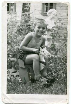Little boy in shorts wooden rocking horse Russia 1970s toys summer vacation holiday old snapshot ORIGINAL vintage photo LARGE by PhotoMemoriesLane on Etsy