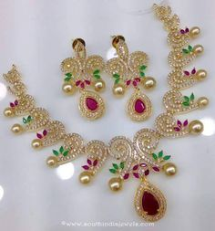 One Gram Gold Necklace Set with Price ~ South India Jewels Pearl Necklace Designs, Necklace Set, Gold Necklace, Emerald Necklace, Gold Set Design, Emerald Jewelry, Gold Jewellery, Antique Jewellery, Gold Jewelry Simple
