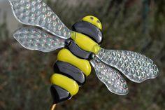 Bumble Bee Plant Stake, Garden Stake, Fused Glass, Beekeeper Gift, Gardener Gift by PurpleSlugGlassArt on Etsy