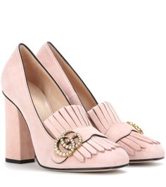 Gucci - Suede loafer pumps - Gucci gives loafer pumps a retro update with fringed detailing and a tall block heel. The house's iconic logo in antique gold-tone metal complements the shoe's petal pink hue. Style these with a wool miniskirt for a vintage-inspired luxe look. seen @ www.mytheresa.com
