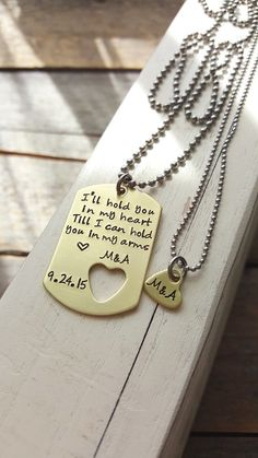 Custom Dog Tag And Necklace Brass Military Hand Stamped Jewlery Boyfriend Gift Girfriend Friend
