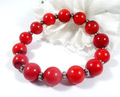 Red Coral Bracelet with Silver Accents Bamboo by EnchantedRoseShop
