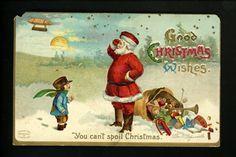 Christmas Santa postcard Artist Signed Clapsaddle Blimp Dirigible toys doll. Vintage Santa. You can't spoil Christmas.