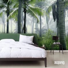 Hot town - summer in the city. Das Auping Essential präsentiert sich in Urlaubslaune. #aupingde #homedecor #designbett #bett #bed #schlafzimmer #bedroom #sleepingroom #palmen #palmtree #wallpaper #guterschlaf #urbanjungle #sleepwell #goodnight #green #summertime #summer #sommer