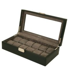 12 Watch Box XL Black Leather Large Compartments High Clearance Glass Window: Watches: Amazon.com