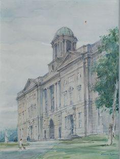 "Thomas Ryan, ""Kings Inn, Dublin"" #art #painting #KingsInn #Dublin #city #DukeStreetGallery Street Gallery, Dublin, Notre Dame, Taj Mahal, Street Art, Buildings, Landscape, City, Travel"