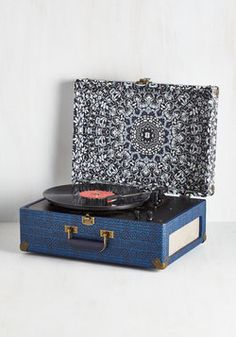Check Your Vinyl Signs Turntable in Blue. Get your pulse pumping to the beat by gettin some tunes spinning on this portable record player. #multi #modcloth