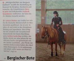German Open 2015 mit nur einem Pony Zeitungsartikel als Online-Version (Foto davon unterhalb) Larissa hat sich in drei Disziplinen für die German Open (Deutsche Meisterschaft im Westernreiten) qual...