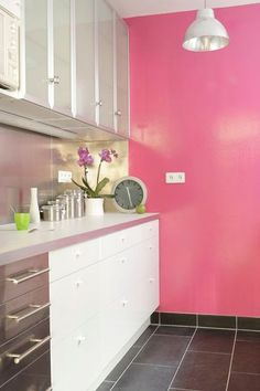 Pink Accent Wall antonio ballatore's hot pink kitchen wall | pink walls, hot pink
