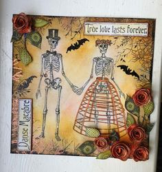 Danse Macabre Art by Donna Ratcliff.  Rubber stamps by Oxford Impressions.