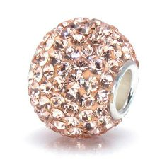 Bella Fascini Peach Round Ball Crystal Pave Sparkle Bling - Solid .925 Sterling Silver Core European Charm Bead Made with Authentic Swarovski Crystals - Compatible Brand Bracelets : Authentic Pandora, Chamilia, Moress, Troll, Ohm, Zable, Biagi, Kay's Charmed Memories, Kohl's, Persona & more! Bella Fascini Beads,http://www.amazon.com/dp/B005P3NM0C/ref=cm_sw_r_pi_dp_OCqNsb1SJBG0P1CJ