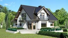 Projekt Dom przy Cyprysowej 15 K6 125,87 m2 - koszt budowy - EXTRADOM House Layout Plans, House Layouts, Design Case, Home Fashion, My Dream Home, Villa, Mansions, Architecture, House Styles