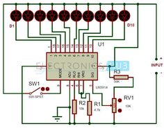 This is a simple battery charge level indicator circuit and is very useful to calibrate inverter status, to measure car battery level, etc. Hobby Electronics, Electronics Projects, Electronic Engineering, Electrical Engineering, Electronic Circuit, Circuit Components, Electronic Schematics, Electrical Projects, Circuit Diagram