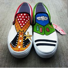 Toy Story Woody/ Buzz Toms New Shoes by eastbaycalifornia on Etsy Painted Canvas Shoes, Painted Vans, Hand Painted Shoes, Disney Vans, Disney Shoes, Disney Outfits, Star Wars Shoes, Custom Vans Shoes, Ankle Boots