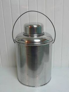 1940s Ribbed Aluminum Two Quart Picnic Camping Jug Cooler, Faris Brand, Lined with Clear Glass - Vintage Travel Trailer Decor $42
