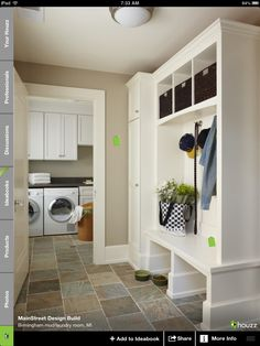 Mud room with open storage & closed in closets for coats, etc.