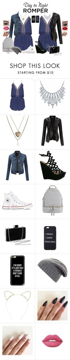 """""""D't'N romper"""" by megansain24-11 on Polyvore featuring Bling Jewelry, Aéropostale, Miss Selfridge, LE3NO, Converse, MICHAEL Michael Kors, Casetify, BCBGMAXAZRIA, Lipsy and Lime Crime"""