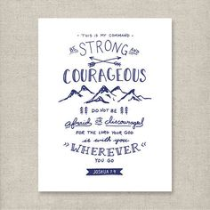 Be Strong Joshua 1:9 Navy Christian art print by KSMDesignShop