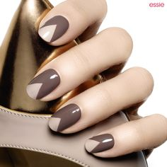 a pointy-toe nail art look has all the right fashion angles in well-appointed smoky plush taupe and featuring essie sand tropez, a soft sandy beige