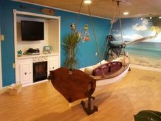 My sweet husband built me and the kids this tropical getaway in the basement! :-)