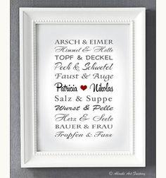 Liebevoll designter Kunstdruck in **DIN A4 Format** auf hochwertigem Künstler-Strukturpapier z.B als Geschenk zur Hochzeit, zum Hochzeitstag, zur Verlobung, zum Jahrestag, Valentinstag, etc.  ♥...