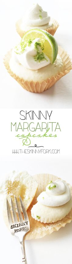Skinny Margarita Cupcakes - Filled with lime curd and topped with tequila lime frosting. De{light}ful! TheSkinnyFork.com