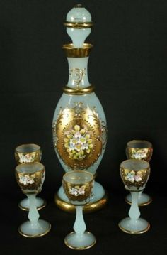 VENITIAN GLASS 6 PC. CORDIAL SET : Lot 8
