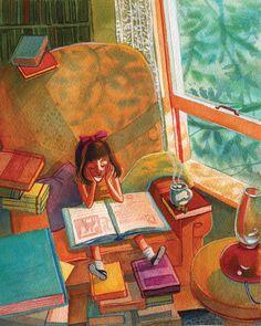 Among books / Entre libros (ilustración de Francesca Buchko)... This will be my child one day... :)