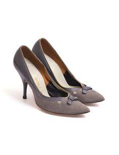 1950s Vintage Slate Gray Stiletto Pumps Midcentury 50s