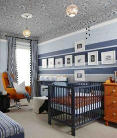 Babyzimmer Streifen Wand Junge