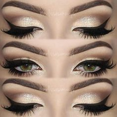 Recommended -  Brown Smokey Eye  Gold Glitter Lower Lash Line #Fashion #Trend