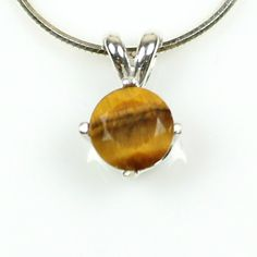 Tiger Eye Pendant #necklace 925 Sterling Silver setting with 18 inch chain honey golden and brown real #gemstone girlfriend gift wife present on #etsy #jewelry sale $33.99 #handmade in the USA